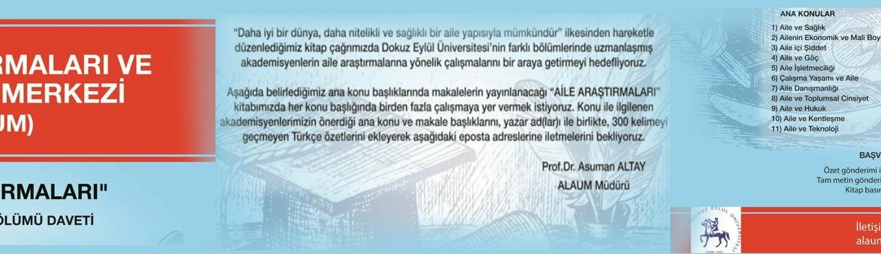 """""""AİLE ARAŞTIRMALARI"""" Derleme Kitap Bölümü Daveti"""